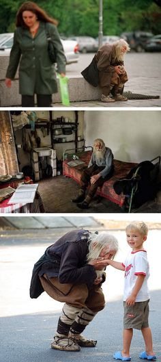 98-year-old Dobri Dobrev, a man who lost his hearing in WW2, walks 10 kilometers from his village in his homemade clothes and leather shoes to the city of Sofia, where he spends the day begging. Though a well-known fixture, it was only recently discovered that he has donated every penny he has collected, over 40,000 euros, toward the restoration of decaying Bulgarian monasteries and churches and the utility bills of orphanages, living instead off his monthly state pension of 80 euros.