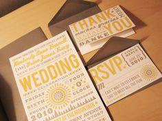 letterpress-esque wedding invitation. set works together well.
