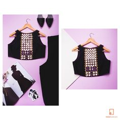 The glam version of the basic black tank top. With purple mirrors embroidered on…