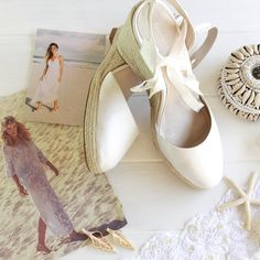 Ladies Espadrille Wedge Ivory Bridal Shoe Beach by ForeverSoles
