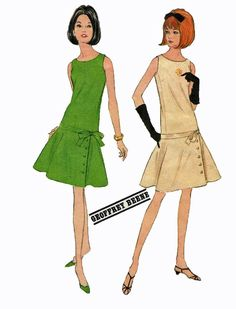 A line drop waist dress pattern | ... 1960s Geoffrey Beene Drop Waist Dress Sewing Pattern 34 Bust Size 14:
