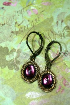 Romantic Purple Petite Vintage Dangle Earrings   shadesongs - Jewelry on ArtFire