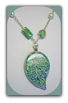 Pale Green Leaf Statement Necklace, polymer clay Jewelry. BeadazzleMe, via Etsy.
