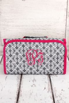 Gray Heart Trellis with Dark Pink Trim Roll Up Cosmetic Bag #CB25-17-GRAY-P