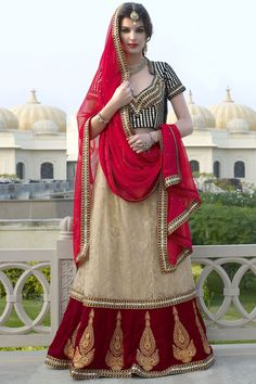 Beautiful Net/Jacquard & Velvet Lehenga In Beige & Deep Red Lehenga Choli Wedding, Party Wear Lehenga, Ghagra Choli, Bridal Lehenga Online, Lehenga Choli Online, Bollywood Lehenga, Red Lehenga, Anarkali, Choli Designs