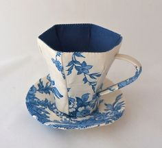 Quirky Fabric Teacup and Saucer  unusual gift by HillyHandmade, £14.95