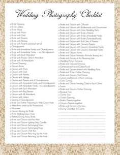Wedding Photography Checklist Best Photos  Wedding Photography