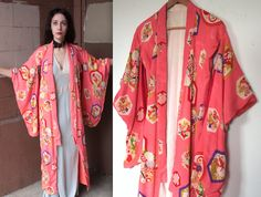 Vintage 1930s Kimono Robe // 30s 40s Hot Pink Silk Crepe Chiffon Robe // Art Deco Asian Floral Pattern by TrueValueVintage on Etsy