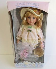CLASSIC FAVORITES COLLECTION GENUINE PORCELAIN DOLL Victorian Girl w/basket