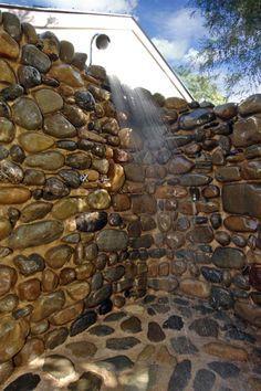 River Rock Bathroom Floor | Riverstone outdoor shower 5