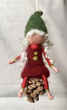 Gefilzte Figur, Nadelfilzen, Weihnachten, Nadelfilzen, Wolle, Weihnachtswichtel