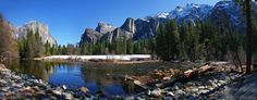 https://flic.kr/p/dTSnJu | Valley View Panorama | Simple yet eye pleasing. A six image, 180 degree, panorama from Valley View in Yosemite National Park. Merged using Kolor AutoPano Pro. Taken in March 2009. View in original size.