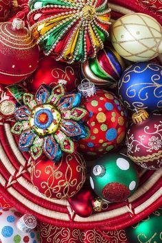 basketful of Christmas Ornaments