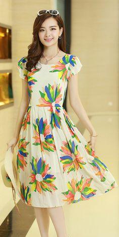 Summer Maxi Printed Chiffon Dress YRB0502 £14.10