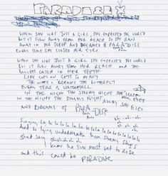 """Chris's handwritten lyrics of """"Coldplay - Paradise"""" gave me chills Frases Coldplay, Coldplay Magic, Coldplay Lyrics, Coldplay Tattoo, My Love Song, Love Songs Lyrics, Music Lyrics, Music Songs, Coldplay Ghost Stories"""