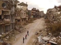 As attitudes and policies towardsrefugeesharden across Europe, a video has emerged that exposes the utter devastation Syrians are fleeing from.  Revealing indetail the consequences of the country'sfive-year civil war, the drone footageshows the piles of rubble ruined buildings thatHoms -previously Syria's third largest city - has been reduced to.
