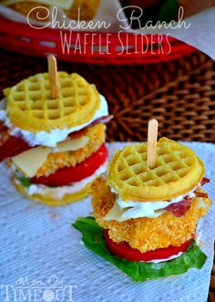 Chicken and Waffles sliders: addendum make your own waffles and minus the ranch and you've got a killer little Snack!!!