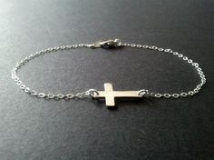 Sterling silver sideways cross bracelet. Too cute!