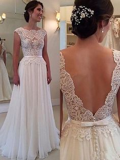 Lace Chiffon Backless A-line Wedding Dresses Capped Sleeves Sweep Train Summer Bridal Gowns This dress is beautiful! 😍 this is my future wedding dress! 2016 Wedding Dresses, Prom Dresses 2017, Wedding Gowns, Column Wedding Dresses, Wedding Dress Backless, Backless Wedding Dresses, Romantic Wedding Dresses, Wedding Dress Big Bust, Wedding Dress For Short Women