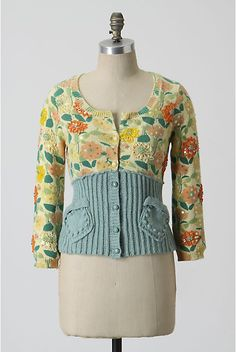 refashioned, two old sweaters to make one interesting piece