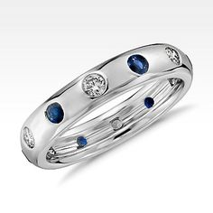 Monique Lhuillier Starlight Sapphire and Diamond Eternity Ring White Gold, Adult Unisex, White Gold Diamond Sapphire Saphire Ring, Sapphire Eternity Ring, Sapphire And Diamond Band, Diamond Studs, Diamond Rings, Gemstone Rings, Tanzanite Rings, Sapphire Jewelry, Eternity Bands