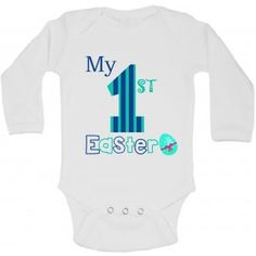 My First Easter - Personalized Long Sleeve Baby Vests Bodysuits Baby Grows - Boys - White My First Easter, Easter Baby, Toddler Vest, Baby Vest, Baby Grows, Newborn Gifts, Online Clothing Stores, Funny Babies, Personalized Baby