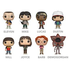 The characters from Stranger Things have been added to Funko's already-extensive POP! vinyl line. Choose Barb, the Demogorgon, Dustin w/Compass, Eleven w/Eggos, Joyce w/Lights, Lucas, Mike w/Walkie Talkie, or Will.