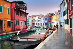 Italy, Venice: Burano Island stock photo, The bright pastel-coloured houses on Burano Island in the north of Venice's lagoon, Italy by Daniele Cucchi