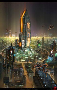 Night falls by zhaoenzhe on DeviantArt – Poster Cyberpunk Aesthetic, Cyberpunk City, Futuristic City, Futuristic Architecture, Fantasy City, Fantasy Places, Paradis Sombre, Arte Digital Fantasy, Sf Wallpaper