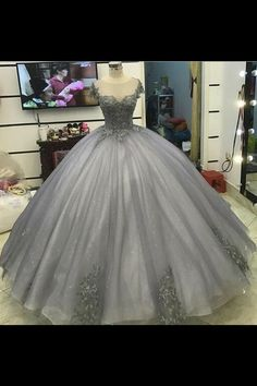 Ball Gown Prom Dress, Glitter Grey Silver Ball Gown Princess Prom Dresses Lace Appliqued Victorian Formal gowns for masquerade Ball Shop Short, long ball gowns, Prom ballroom dresses & ball skirts Pretty ball gowns, puffy formal ball dresses & gown Tulle Ball Gown, Ball Gowns Prom, Tulle Prom Dress, Party Gowns, Bridesmaid Dress, Tulle Lace, Masquerade Ball Dresses, Prom Party, Party Dress