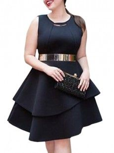 Assorted Colors Falbala Brilliant Round Neck Plus Size Flared Dress