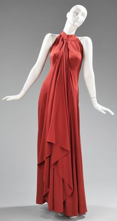 Madame Gres Silk dress, 1974-75 red gown evening formal long column halter designer vintage fashion mid 70s draping iconic halston like