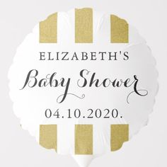 Shop Baby Shower - Stripes, Lines, Gold Glitter Balloon created by partyprogram. Photo Balloons, Glitter Balloons, Sparkles Glitter, Baby Shower Ballons, Baby Shower Parties, Shower Party, Gold Stripes, Stripes Design, Baby Shower Table Decorations