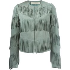 Drome Fringed Jacket (€1.195) ❤ liked on Polyvore featuring outerwear, jackets, coats, green, drome, fringe jacket, green jacket and suede fringe jacket