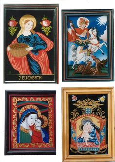 Religious Icons, Naive, Ikon, Madonna, Folk Art, Frame, Glass, Pictures, Painting