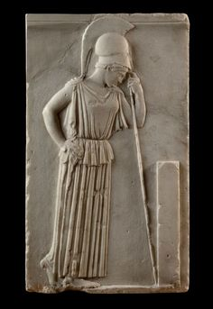 A carved relief in the Acropolis Museum showing Athena; the Greek goddess of the arts of warfare wears her attribute of a helmet and leans on a spear. Ancient Greek Art, Ancient Greece, Ancient History, Objets Antiques, Ancient Goddesses, Roman Sculpture, Athena Goddess, Greek And Roman Mythology, Art Antique