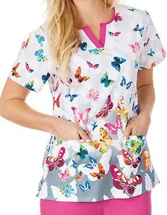 Style Code: This Bio Prints Ladies is a contrast slit neck border top with shirring detail at back yoke. It has two welt pockets, side vents and with center back length of 26 inches. Cute Nursing Scrubs, Cute Scrubs, Scrub Tops, Costume, Printer, Floral Tops, Fashion Beauty, Contrast, Suits