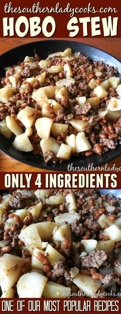 Hobo stew is only 4 ingredients and is a great weeknight skillet meal. Add ingre… Hobo stew is only 4 ingredients and is a great weeknight skillet meal. Add ingredients to make it your own or enjoy it like it is for a delicious easy stew. Beef Dishes, Food Dishes, Hamburger Meat Dishes, Hamburger Gravy Recipe, Hamburger Meat Recipes Easy, Dessert Dishes, Main Dishes, Desserts, Crockpot Recipes