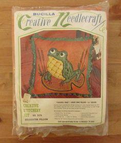 Vintage BUCILLA Creative Needlework Stitchery FANCIFUL FROG Pillow Kit #Bucilla