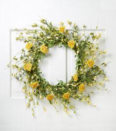 Wild Blooms 22'' Carnation Wildflower Wreath-Yellow