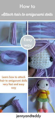 learn how to attached hair to amigurumi dolls the fast and easy way.