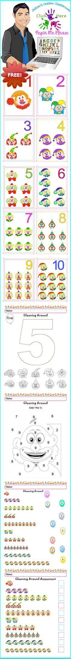 100% FREE - Custom created and designed packet aimed at helping children learn the numerals one through ten.  The clown faces related to different numerals and are consistent throughout the packet.  Enjoy!