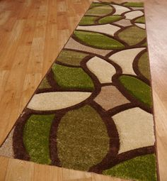 Funky Paving Runners in Green, Brown and Cream