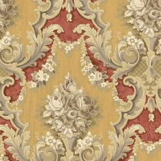 Red and Gold Melissae Floral Damask Wallpaper, SBK26914