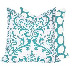 Blue Decorative Throw Pillow Cover 18x18 Double Sided Damask with Polka Dots, Turquoise Mist Collection. $24.00, via Etsy.