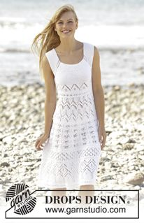 "Mallorca - Knitted DROPS dress with lace pattern worked top down in ""Muskat"". Size: S - XXXL. - Free pattern by DROPS Design"