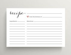 Bridal Shower Recipe Cards // Pink Love Heart by rosiedaydesign