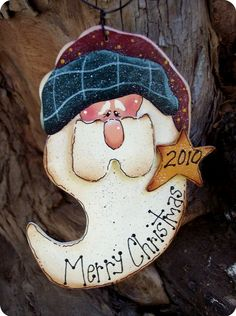 Merry Christmas Santa Ornament by CountryCharmers