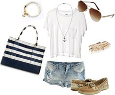 White T & Denim Shorts