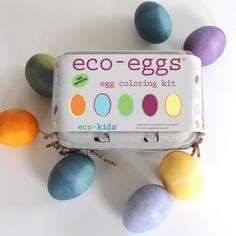 Eco-Egg Coloring Kit $14.95  Sticking to the basics is natural for us with made in the USA natural egg coloring kits. Comes with 3 primary color powder packs and a color chart to create 6 custom colors, a crayon for texturing your eggs and a custom egg dipper made right here in Maine. Made with natural and organic fruit, plant and vegetable extracts from annatto seed, cumin, purple sweet potato and red cabbage. Includes color chart and instructions.